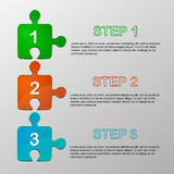 Vector jigsaw pieces which show steps. Vector jigsaw pieces which show infographic steps Stock Image