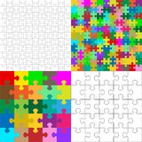 Vector JigSaw Puzzle Pieces Arranged in a Square. Vector JigSaw Puzzle Pieces Collection Arranged in a Square - Black and White and Colorful Set royalty free illustration