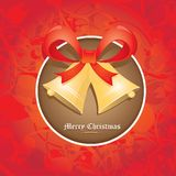 Vector Jingle bells with red bow. christmas card Stock Image