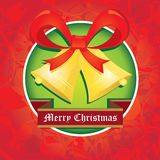 Vector Jingle bells with red bow. christmas card Stock Photos