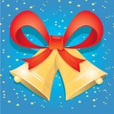 Vector Jingle bells with red bow Royalty Free Stock Images