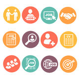 Vector job hunting, search, human resources icons royalty free illustration