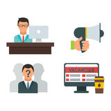 Vector job search icon set computer office concept human recruitment employment work meeting manager Royalty Free Stock Photography