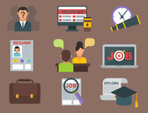 Vector job search icon set computer office concept human recruitment employment work meeting manager Stock Photography