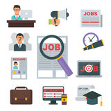 Vector job search icon set computer office concept human recruitment employment work meeting manager. Vector job search icon set computer office concept human Stock Image