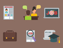 Vector job search icon set computer office concept human recruitment employment work meeting manager Stock Photos