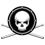 Vector jolly Roger drum skull with drumsticks Stock Photo