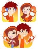 Vector jongen en meisje met hun telefoon Royalty-vrije Stock Fotografie