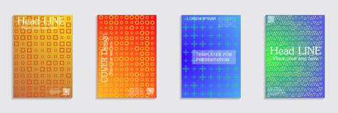 Minimal covers design. Cool halftone gradients. Vector journal design geometric shape background set. Vector journal design geometric shape background set vector illustration