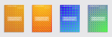 Minimal covers design. Cool halftone gradients. Vector journal design geometric shape background set. Vector journal design geometric shape background set stock illustration