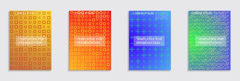 Minimal covers design. Cool halftone gradients. Vector. Vector journal design geometric shape background set, halftone lines hipster pattern abstract covers royalty free illustration