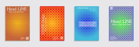 Minimal covers design. Cool halftone gradients. Vector. Vector journal design geometric shape background set, halftone lines hipster pattern abstract covers stock illustration