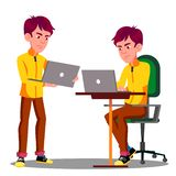 Vector joven del problema de Sad With Laptop del estudiante masculino Ilustración aislada stock de ilustración
