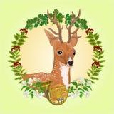 Vector joven del tema de la caza de los ciervos Imagen de archivo libre de regalías