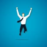 Vector joyful businessman is jumping  Royalty Free Stock Photos