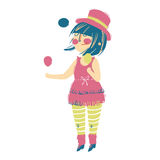 Vector juggler girl Cartoon Illustration Stock Photography