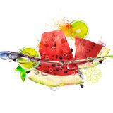 Vector juicy fruits in water. Watermelon, lime, splashing water with bubbles, rich bright colors, watercolor Stock Images