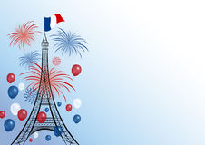 Vector 14 july bastille day design. Of eiffel with firework and balloon royalty free illustration