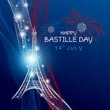 Vector 14 july bastille day paris design with firework. Of eiffel tower and france flag on blue background stock illustration