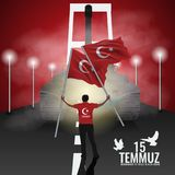 Vector 15 july Day Turkey. Translation of title in Turkish is 15 July The Democracy and National Unity Day of Turkey. 15 july Day Turkey. Translation of title Stock Images
