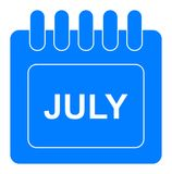 Vector july on monthly calendar blue icon. Simple vector illustration of july on monthly calendar blue icon on white background royalty free illustration