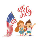 Vector 4 july US independence day sign. Children with flag. Royalty Free Stock Photos