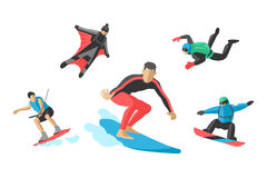 Vector jumping extreme athletes silhouettes illustration life skateboard set speed skydiver skateboarder roller skate Stock Photo