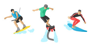 Vector jumping extreme athletes silhouettes illustration life skateboard set speed skydiver skateboarder roller skate Stock Photography