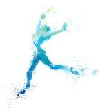 Vector jumping woman, splash artwork. Stock Images