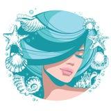Vector junges schönes Mädchen der Illustration mit geschlossenen Augen, dem blauen Haar und Stofffrisur Stockbild