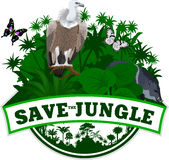 Vector Jungle Emblem with butterflies and wild pig peccary and Griffon vulture Royalty Free Stock Images