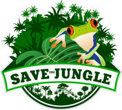 Vector Jungle Emblem with Frog Royalty Free Stock Photo