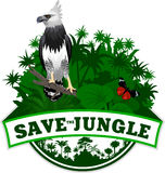 Vector Jungle Emblem with harpy and butterflies Royalty Free Stock Photography