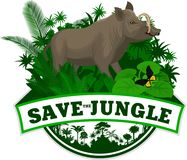 Vector Jungle Emblem with north Sulawesi babirusa royalty free illustration