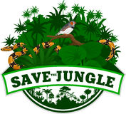 Vector Jungle Emblem with python and Zebra Finch Stock Images
