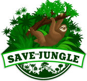 Vector Jungle Emblem with sloth Royalty Free Stock Image
