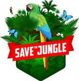 Vector jungle rainforest emblem with parrot blue-and-yellow macaw, Morpho menelaus, Amazon beauty and Glasswing butterfly
