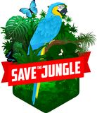 Vector jungle rainforest emblem with male gorilla, Hartlaub`s turaco and broadly green-banded swallowtail butterfly