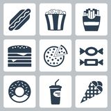 Vector junk food icons set Royalty Free Stock Image