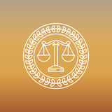 Vector juridical and legal logo and sign. Line label Stock Photos