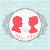 Vector Just married Silhouette in Vintage Frame Royalty Free Stock Image