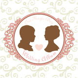 Vector Just married Silhouette in Vintage Frame Stock Image