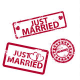 Vector just married stamps Royalty Free Stock Image