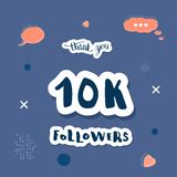Vector 10K followers social media template. Vector social media networks template. Banner for 10K followers. 10000 subscribers congratulation post with hand royalty free illustration