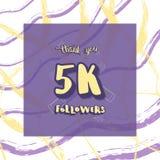 Vector 5k followers thank you social media template. 5K followers thank you social media template. Banner for internet networks. 5000 subscribers congratulation vector illustration