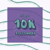 Vector 10k followers thank you social media template. 10k followers thank you social media template on dry brush lines textured background. Banner for internet vector illustration