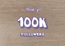 Vector 100k followers thank you social media template. 100k followers thank you social media template on wood textured background. Banner for internet networks stock illustration