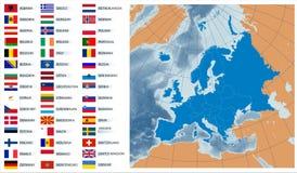 Vector kaart Europa met vlaggen Stock Fotografie