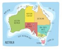 Vector kaart van Australië Hand getrokken illustratie Royalty-vrije Stock Fotografie
