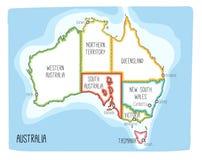 Vector kaart van Australië Hand getrokken illustratie Royalty-vrije Stock Foto